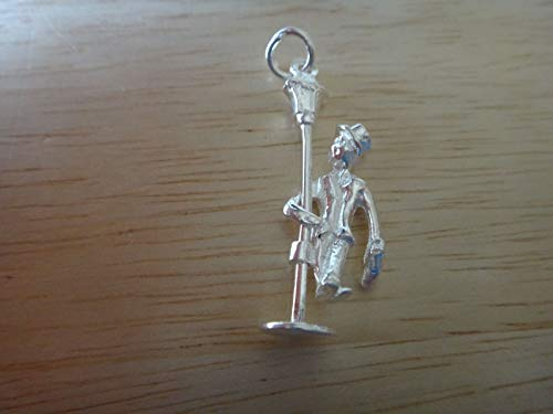 1 Pendant Light Enchantment - Fine Charms 1 Sterling Silver 3D Movable 32x11mm Street Light Pole with Man