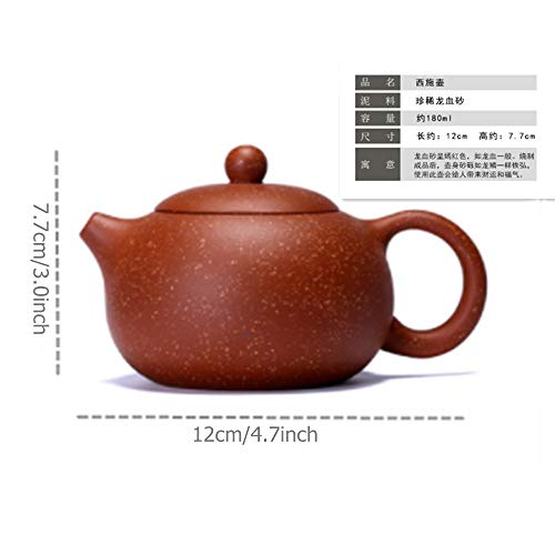 2500 Silk Art Yixing Handmade Teapot Precious And Rare Dragon Blood Sand Xi Shi Teapot Kung Fu Tea Set (LXS-CH) ()