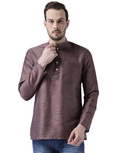 KISAH Men's Mauve Benarasi Cotton Silk Solid Coloured Short Kurta by KISAH