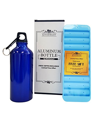 - Kitchsmart Aluminum Water Bottle with Plastic Screw Lid Looped on the Top, Midnight Blue, 20oz