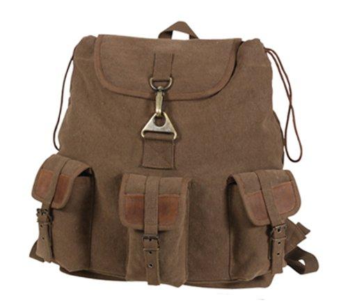 Rothco Brown Vintage Wayfarer Backpack with Leather - Vintage Wayfarers