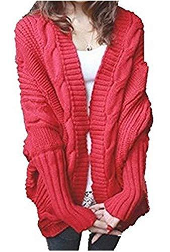 Veste en Tricot pour Dames Elgante Baggy Chauve-Souris Ouvert Veste en Tricot Vintage Loisir Fashion Chunky Tricot Manteau Vtements Outerwear Printemps Automne Rouge