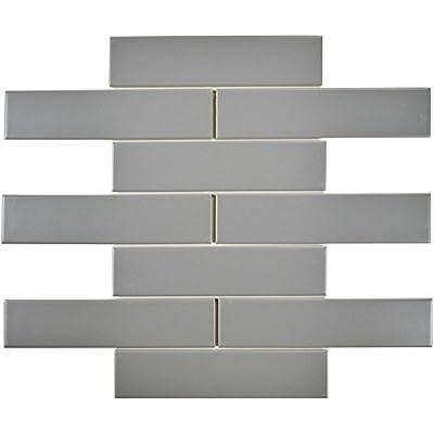 "SomerTile FMTSHML Retro Soho Subway Porcelain Floor & Wall Tile, 1.75"" x 7.75"", Matte Light Grey"