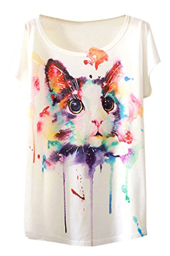 PinkWind Womens Cat Animal Print Round Neck Summer Tops T Shirts One Size Watercolor cat