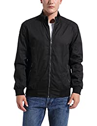 Men's Casual Cotton Full Zip Long Sleeve Stand Collar Classic Jacket
