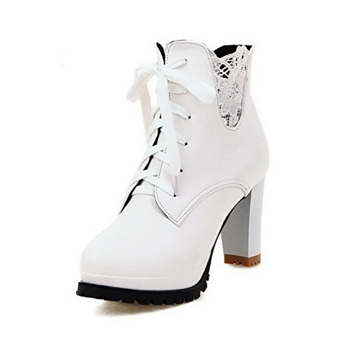 Boots Low Toe Women's High Heels White Closed Solid top Round WeiPoot PU xTn1qW1