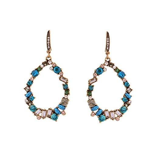Gemstone Cluster Earrings - Peony.T Women's Vintage Colorful Garland Statement Dangle Earrings Oval Waterdrop Gemstone Oval Drop (Cold Blue)