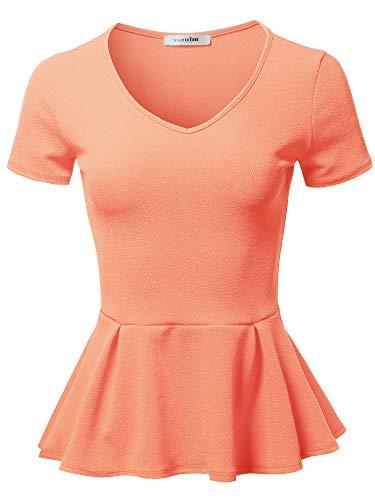 SSOULM Women's Classic Stretchy Short Sleeve Flare Peplum Blouse Top Peach 2X