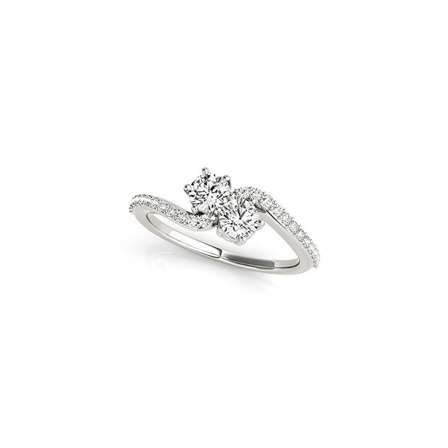 14k White Gold Round cut Two stone Diamond Ring (1/2 cttw, H I, I1 I2) Size 4 9