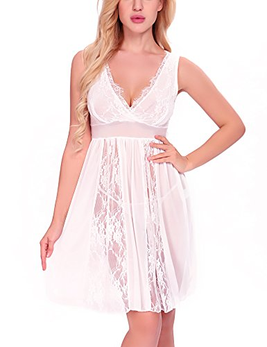 Ababoon Womens Sexy Long Lace Lingerie Nightdress Sheer Gown Chemise G-string, White, X-Large