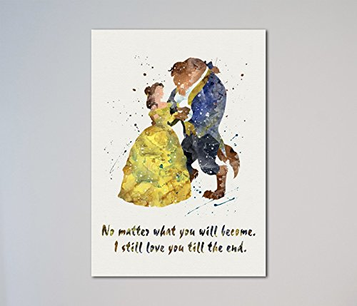 Beauty and the Beast Quote Belle Love Print (Beauty And The Beast Painting)