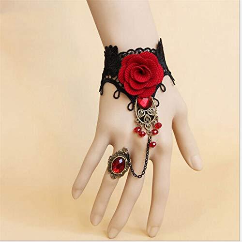 (UINKE Vintage Gothic Lolita Lace Slave Bracelet Ring Set Red Rose Flowers Gemstone Lace Wristband Wedding Halloween Accessories)