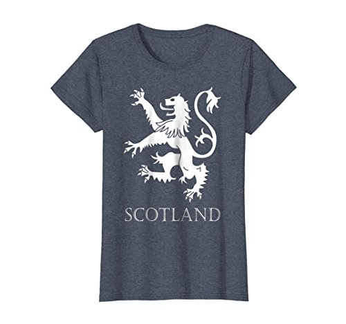 Womens Scottish Lion Rampant T-shirt Scotland Coat of Arms Rugby Large Heather Blue