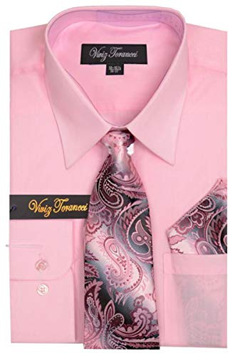 (Viviz Forancci Men's Long Sleeve Pointed Collar Dress Shirt with Matching Tie Set AC101-Pink-17-17 1/2-34-35)