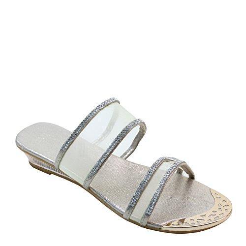 Nieuw Brieten Dames Metallic Ornament Strass Mesh Upper Low Wedge Comfort Slide Sandalen Goud