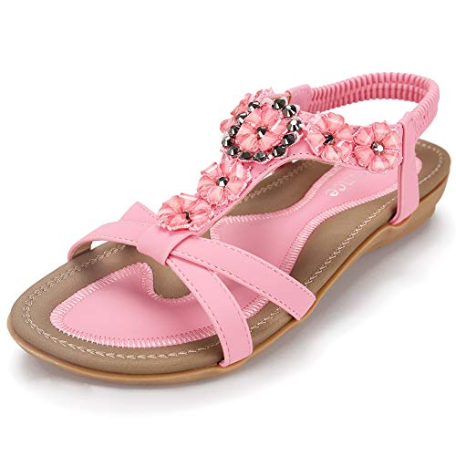 - Harence Women's Casual Summer Shoes Ankle T-Strap Thong Flat Sandals (10, Pink3)