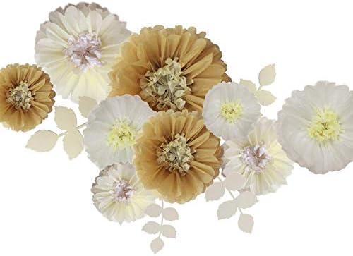 Fonder Mols ティッシュペーパー 菊の花 ペーパーリーフ DIYクラフト 素朴な結婚式の背景 ベビーシャワー 保育園のデコレーションに (15枚セット) カーキアイボリーホワイト