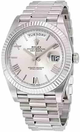 5e429a302f4 Rolex Day-Date 40 Silver Quadrant Motif Dial 18K White Gold President  Automatic Mens Watch