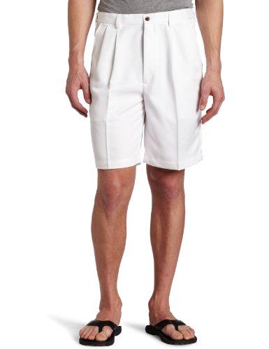 Haggar Men's Cool 18 Gabardine Hidden Expandable Waist Pleat Front Short,White,36