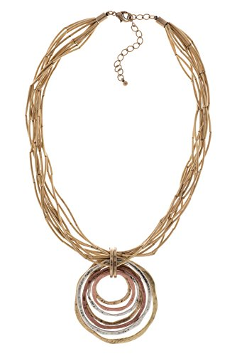 Sunlight Goddess Pendant Necklace in Burnished and Plated Copper and Brass Silver