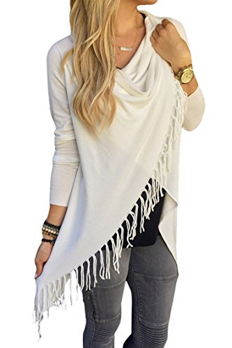 Viottis Womens Tassel Hem Crew Neck Knited Cardigan Wrap Sweater Coat Outwear