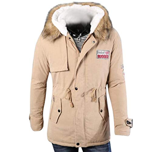 Long Winter Cotton Hooded Top Khaki Blouse Autumn Fashion Men's BHYDRY Zipper Long Coat Sleeve Jacket Men xBAXtqfwY