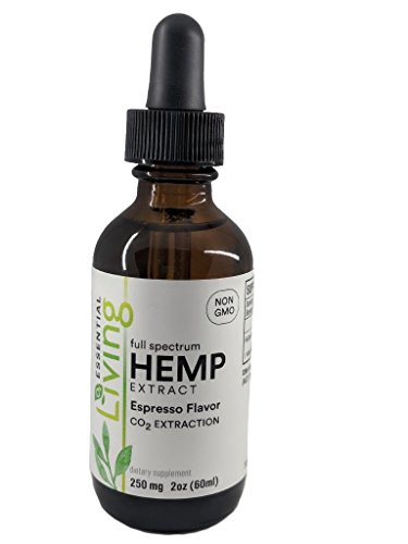 O2 Living Hemp Extract Oil - 250 mg Potency Organic Espresso Flavor MCT Oil Industrial Grade Hemp (60 Servings)