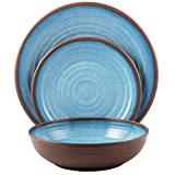 Melange 12-Piece Melamine Dinnerware Set (Clay Collection) | Shatter-Proof and Chip-Resistant Melamine Plates and Bowls | Color: Light Blue | Dinner Plate, Salad Plate & Soup Bowl (4 Each)