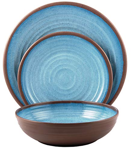 amine Dinnerware Set (Clay Collection) | Shatter-Proof and Chip-Resistant Melamine Plates and Bowls | Color: Light Blue | Dinner Plate, Salad Plate & Soup Bowl (4 Each) ()