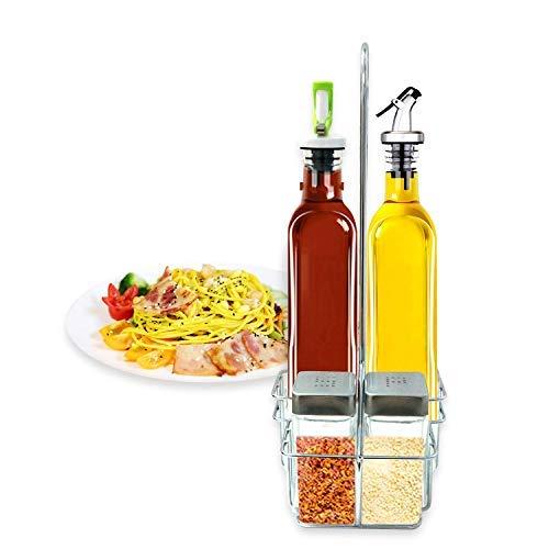 Set of 2 Oil and Vinegar Bottles, Elegant Life 16.50oz Vinegar Glass Cruet Bottle Set with Stainless Steel Rack and 2 Condiment bottles Set(2 Kinds of Oil Dispensing Pour Spouts - Cruet Rack Vinegar