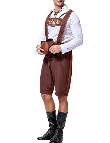 German Braces Costume (ROLECOS Mens Bavarian Costume Oktoberfest Costume Lederhosen Shorts with Braces Top and Hat XL)