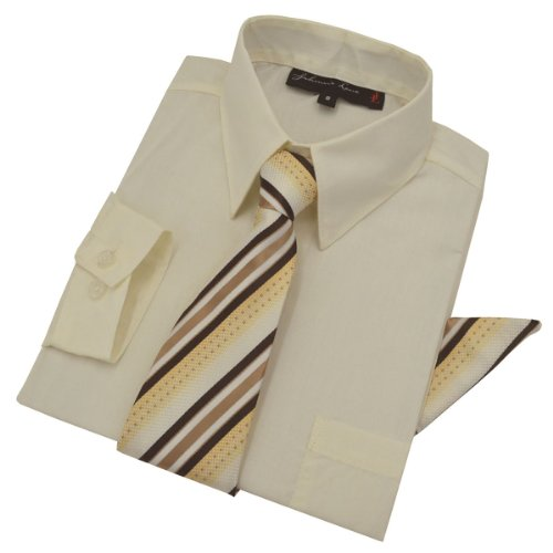 Boys Dress Shirt with Tie and Handkerchief #JL26 (4T, Ivory)