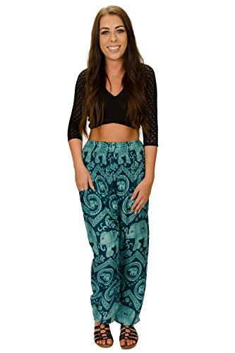 Blue Genie Art - Happy Trunks Women's Hippie Yoga Elephant Pants S M L 8 Colors - Harem Pants by (Large, Blue)