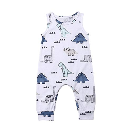 Newborn Baby boy Girl Romper Jumpsuit Sleeveless Animal Cartoon Print Bodysuit Overalls Outfits Clothes (White-Cute Cartoon Dinosaur, 0-6 Months)