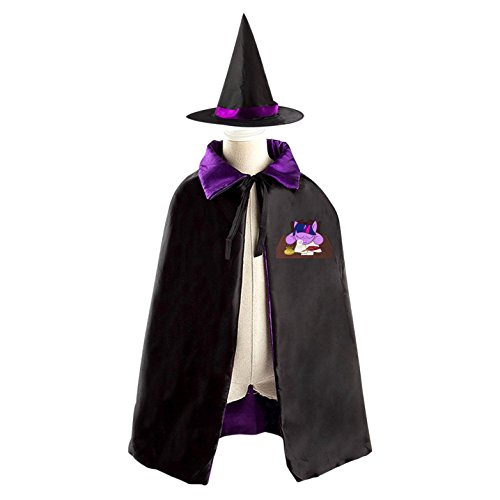 Unicorn horse Rainbow Movie Children's Halloween cape Including WizardCap/Witches/Mantle/Cloak+Hat (Play On Words Halloween Costumes For Groups)