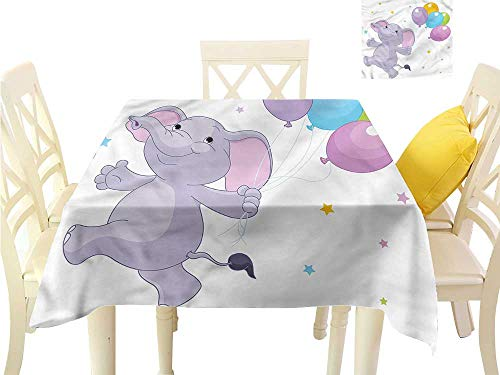 Davishouse Square Polyester Tablecloth Happy Animal Balloons Washable Polyester - Great for Buffet Table, Parties, Holiday Dinner, Wedding & More W70 x L70