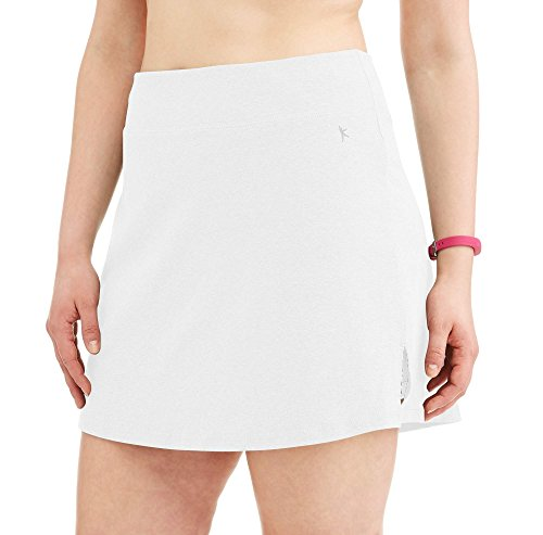 (Danskin Now Women's Plus Size Activewear Athletic Cotton Blend Skort/Skirt with Built in Shorts (White, 5X (30W-32W)))