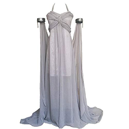(Xfang Women's Chiffon Dress Halloween Cosplay Costume Grey Long Train Dress)