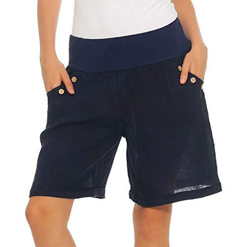 wodceeke Women Cotton Linen Summer Short Pants Elastic Waist Pocket Casual Shorts Lounge Walking Shorts(XXL,Navy) ()