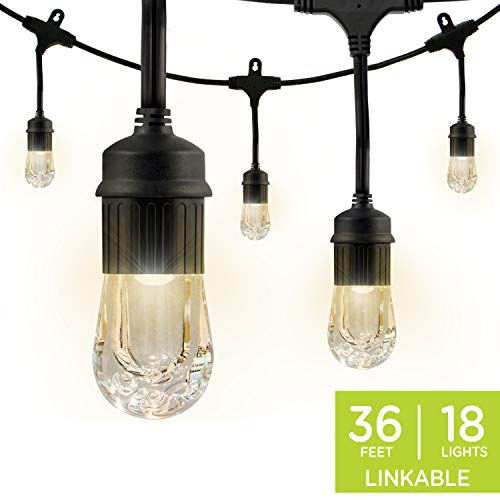Enbrighten Classic LED Cafe String Lights, Black, 36 Foot Length, 18 Impact Resistant Lifetime Bulbs, Premium, Shatterproof, Weatherproof, Indoor/Outdoor, Commercial Grade, UL Listed, 33171 (Patio Pergola Ideas Design)