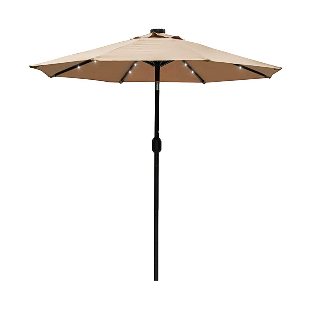 Sundale Outdoor 7 ft Solar Powered 24 LED Lighted Patio Umbrella Table Market Umbrella with Crank and Push Button Tilt for Garden, Deck, Backyard, Pool, 8 Steel Ribs, Polyester Canopy (Tan)
