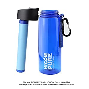HiComPure Water Bottle Purifier/ Filter- 2 stages of Purifying - MUST have for a Backpacker or Camping/Hiking Addictive COME WITH A SURVIVAL BRACELET AS COMPLEMENTARY