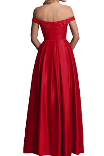 Missdressy Damen Elegant Satin Spitze Lang Traeger Abendkleid