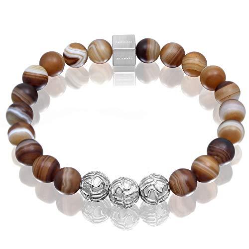 COOLUXU Men Women Bracelet Natural Precious Gemstone Onyx 8mm Bead Bracelet for Men Agate Stone Bracelet for Mens Tiger Eye Bracelet with Stainless Steel Charm