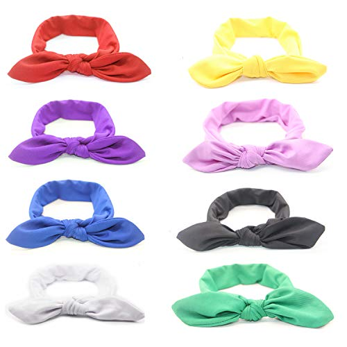 Women Headbands Turban Headwrap Hair Band Bows Rabbit Ear Accessories Solid Color Elastic For Women Teen Girls Makeup Washing Sports Yoga Running Travel 8 Pack series
