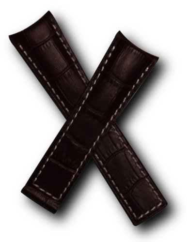 22mm-dark-brown-alligator-style-genuine-leather-watchband-with-white-stitching-to-fit-tag-heuer-gran