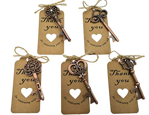 50pcs Skeleton Key Bottle Opener Wedding Party Favor Souvenir Gift with Escort Tag and Jute Rope(Red Copper Tone,5 styles) -