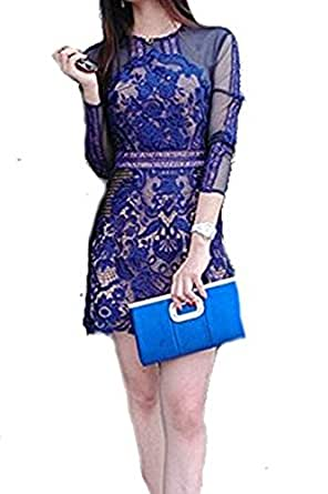 Celebritystyle blue lace and mesh dress see measurement (XS)