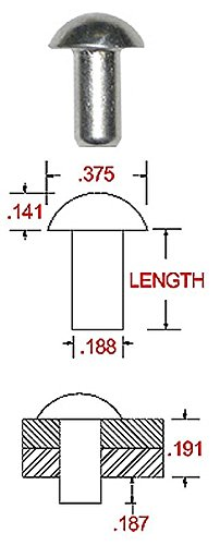 1//4 X 1-1//4 Length Pack of 1 LB - Approximately 122 Pieces Plain Finish Solid 1100F Aluminum Round Head Rivet