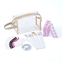 Zodaca Makeup Beauty [5-Pack] Gift set - Cosmetic Bag, 15 piece-set Nail Brush, French Nail Guide Manicure Stickers, 1200-piece set Nail 3D Rhinestones, 10-piece Set Toe Finger Separator